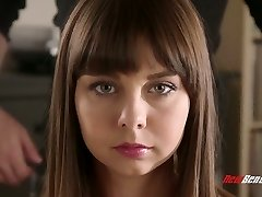 Beautiful hottie with puffy lips gets screwed rear end hard by James Deen
