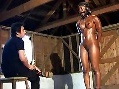 CMNF - Ebony humiliating pony chick training