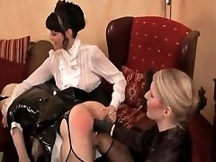 Brunette mistress uses submissive male on her bed