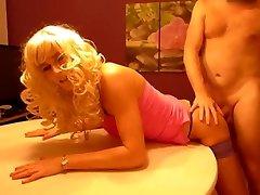 crossdresser Blond so ultra-kinky when you take the pipe