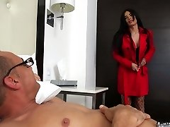 Enormous bottomed and fake tittied shemale Valeria Danae is banged in stretched brown sphincter