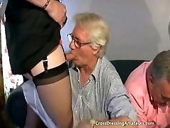 Teen with 2 old dudes and a mature crossdresser