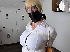 WSBP - Busty Female getting tied up and ball-gagged!