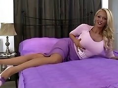 blond in vintage lingerie and pantyhose solo