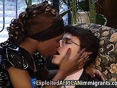African Babe Likes Riding Hefty White Schlong