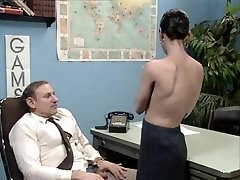 Older boss at desk job getting a blow job