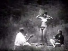 Vintage Stripper Dancing in the Forest