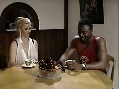 Black boy eats pussy of white bosomy rapacious slut