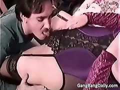 Pregnant mom deep throats many stiff cocks part5