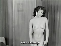 Nude Brunette Teases with Perfect Body (1950s Antique)