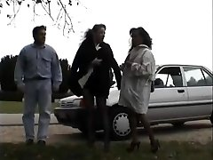 Vintage clip of Stunners luving flashing public sex