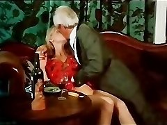 Vintage smooching and smoking scene