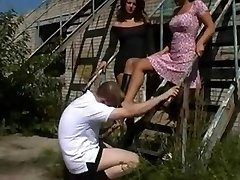 Naughty hoes and a sissy guy having femdom fun