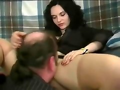A woman making fellow eat her pretty pussy and treating him like shit
