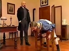 Bald professor spank young student