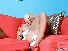 Sexy blonde chick LilyWOW in thinnest antique nylons