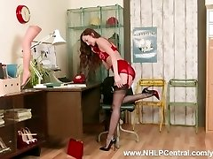Brown-haired office secretary Sophia Smith takes client service to next level on phone in retro lingerie nylon heels