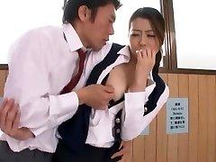 Horny Japanese breezy Hikari Hino, Nao Mizuki in Fabulous Cunnilingus, Office JAV vid