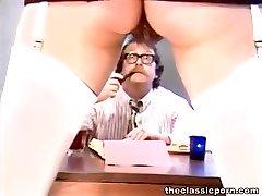 Hairy pussy slut handles cock orally