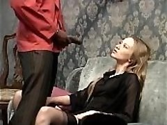 Smoking white tramp wants to be fucked by her black servant