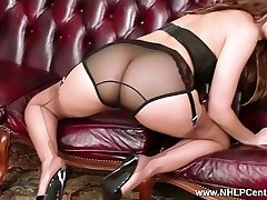 Brunette strips off vintage undergarments wanks in nylons mules