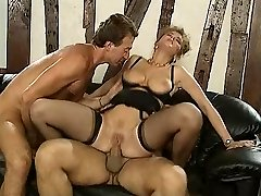 German damsel fucked by two business guys