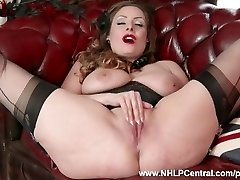 Natural ginormous tits brunette Sophia Delane disrobes to nylons heels and wanks