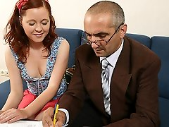 TrickyOldTeacher - History lessons make student swallow jism and penetrate her senior teacher