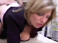 Lucky dude gets cauth by his blonde Milf boss in stockings