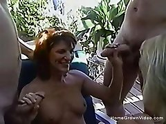 Vintage amateur fuckfest with two couples in the backyard