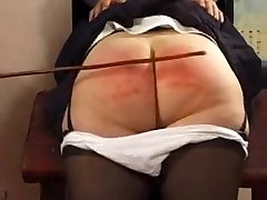 Naughty grandmother gets her booty spanked hard