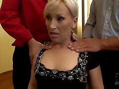 MILF poker player lets crazy men squeeze her boobs
