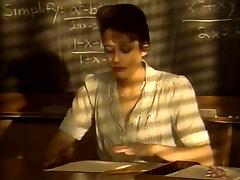 Short haired kinky brunette college schoolteacher inhales strong cock for cum