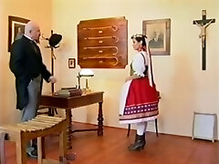 Perverted headmaster caning his teenager pupil