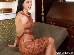 Busty brunette wanks off in antique nylons garters stilettos