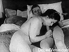 Authentic Vintage Porn 1950s - Clean-shaven Pussy, Voyeur Fuck