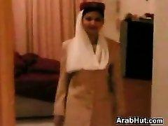 Pretty Arab Stewardess Giving A Suck Off