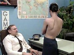 Old chief at desk job getting a blow job