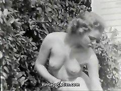 Nudist Girl Senses Great Naked in Garden (1950s Vintage)