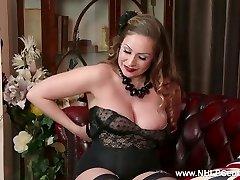 Innate big tits brunette Sophia Delane wanks in nylon high-heeled slippers