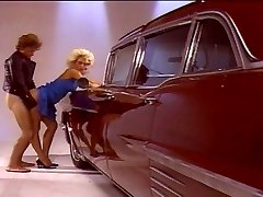 Platinum-blonde chick fucking good by the car