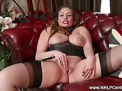 All-natural big mammories brunette Sophia Delane strips to nylons heels and wanks