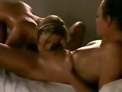 Erotic lesbos massage and munch each other