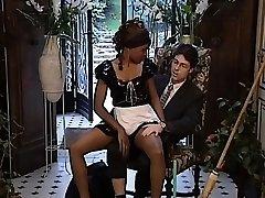 Sexy ebony maid gets her nice tight vulva pleased