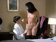 Vintage dark haired in stockings hot fucking with facial