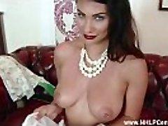 Brunette masturbates in nylon lingerie heels