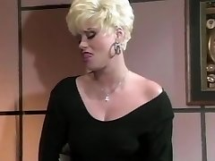 Sexy woman manager Gail masturbates on office table