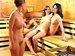 Mommy and daughter in the sauna