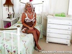Horny blonde Lu Elissa fucks big dildo toy in antique stockings suspenders