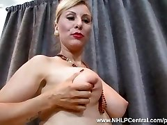 Sexy blonde Saffy fucks cootchie with heels in antique nylons and lingerie